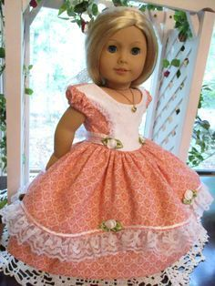 """Southern Belle Pink Doll Dress to fit your 18"""" American Girl Doll for Civil War Era by Emmakate0 on Etsy"""