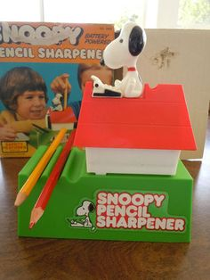 This was in my room...1974  Snoopy Pencil Sharpener Battery Operated with Box Peanuts