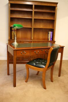 A Yewood Study Room.  Writing Table, Bookcase and Regency Style Desk Chair.  www.thedeskcentre.co.uk