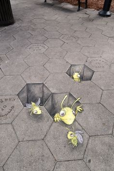"""Bee Different"" - chalk and charcoal on entertainingly patterned sidewalk, Carrollton, GA"