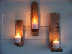Mur de bois flotté bougie titulaires Set de par DriftWoodDominican