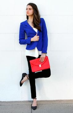 Royal Blue Zipper Shoulder Blazer from Street Style Fashion ...