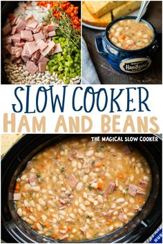 Ham and Beans is meant to be made in the slow cooker! The beans turn out super tender with little effort. - The Magical Slow Cooker hamandbeans beansandham crockpot 567735096778271661 Crock Pot Slow Cooker, Slow Cooker Recipes, Cooking Recipes, Recipes With Ham, Slow Cooker Dinners, Ham Bone Recipes, Slow Cooker Appetizers, Top Recipes, Soup Recipes
