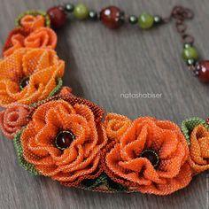 Колье, бусы ручной работы. Ярмарка Мастеров - ручная работа. Купить Колье с цветами из бисера, бисероплетение, вышивка бисером, оранжевое. Handmade.