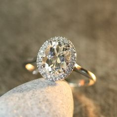 White Topaz and Diamond Halo Engagement Ring in by LaMoreDesign