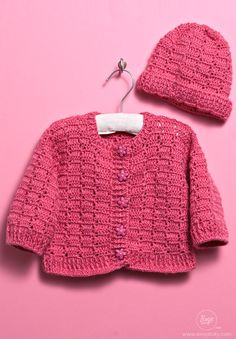 Crochet a baby sweater and hat for your little one using free crochet patterns!