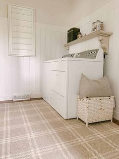 Neutral rug in laundry room Farmhouse Area Rugs, Grey Shelves, Shop Interiors, Cool Patterns, Woven Rug, Storage Solutions, Laundry Room, Color Pop, New Homes