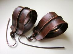 Breaking at the Seams - primitive industrial fold formed copper ribbon tube apocalyptic organic dark leather red patina metalwork earrings by LoveRoot