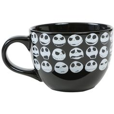 Hot Topic The Nightmare Before Christmas Jack Skellington Head Soup... ($13) ❤ liked on Polyvore featuring home, kitchen & dining, drinkware, multi, ceramic mugs, jack skellington mug, black ceramic mug, face mug and black mug