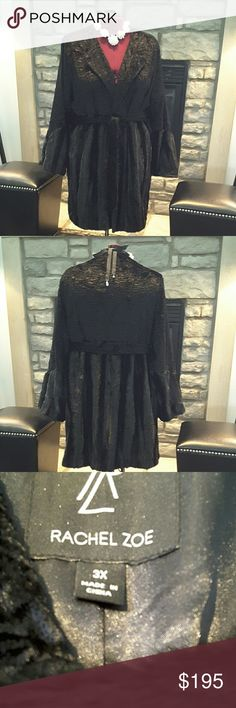 RACHEAL ZOE PLUS SIZE FUR COAT GORGEOUS BLACK FUR COAT WITH BELT. UMPIRE WAIST AND TWO  DIFFERENT TEXTURES TO THE COAT. SEE PIC 4 BOUGHT FROM QVC AND IS BRAND NEW NEVER WORN. RAYON  AND MODACRYLIC FRONT AND POLY BLACK LINING. LADIES THIS COAT IS TO DIE FOR AND SO FAR SHE HAS NOT MADE ANY PLUS SIZES IN HER LINE OF COATS BESIDES THESE THAT I KNOW OF. Rachel Zoe Jackets & Coats