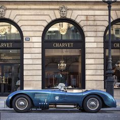 1951 Jaguar C-Type XK120C parked outside Charvet. The world's best shirts and the world's most elegant motorcar--superb scene.