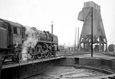 70022 9Tornado) prepares to run off the turntable at Patricroft, circa 1966.