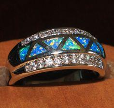 blue fire opal Cz ring Gemstone silver jewelry Sz 9 modern cocktail D9L