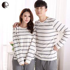 Spring Autumn Fashion Pyjama Femme O-neck Nightwear Female Pajama Sets For  Women Men Knitted Cotton Pijamas Suit Couple Lounge a4e3bd18d