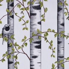 Forest Print Swedish Cotton Fabric by the Yard | Mood Fabrics - want for room dividing panel fabric