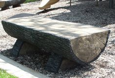 Made from glass fiber reinforced concrete (GFRC), this natural looking rustic half-log park bench will be a unique addition to any outdoor setting.