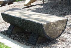 Concrete Half Log Bench
