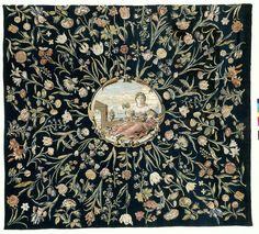 Tafelkleed met de personificatie van Flora en een bloemenpatroon, Maximiliaan van der Gucht, ca. 1650 - ca. 1675. Floral tablecloth showing the personification of Flora.