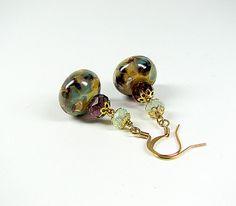 Lampwork glass #beaded #earrings #Plum purple and by ShopPretties