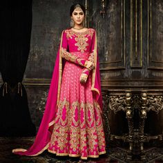Buy Pink Floor Length Anarkali Suit for womens online India, Best Prices, Reviews - Peachmode