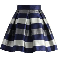 Chicwish Cute Stripes Pleated Skirt in Blue (115 BRL) ❤ liked on Polyvore featuring skirts, bottoms, chicwish, blue, blue striped skirt, blue stripe skirt, chicwish skirt, blue skirt and knee length pleated skirt