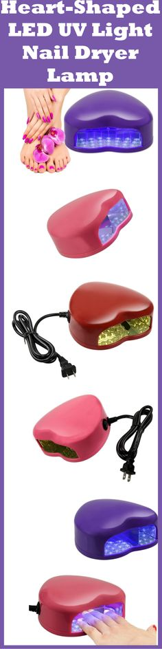 This adorable Mini Heart-Shaped LED UV Light Lamp Nail Dryer by ETSYG® provides the dry time of about 30-45 seconds when you are using the UV LED Nail Gel!