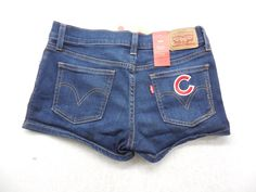 Levi's Womens Shortie Shorts Medium Wash Denim Chicago Cubs Baseball  C Jean Shorts Size 27 by KCteedesigns on Etsy