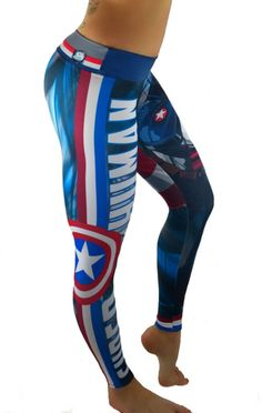 Activewear - Captain America Leggings - Visit to grab an amazing super hero shirt now on sale! Workout Clothes Cheap, Workout Clothing, Workout Outfits, Workout Gear, Captain America Leggings, Superhero Leggings, Vetements Shoes, Athletic Outfits, Athletic Clothes