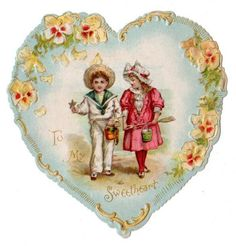Victorian Valentine Card Embossed Heart Shaped Kids Vintage 1920s