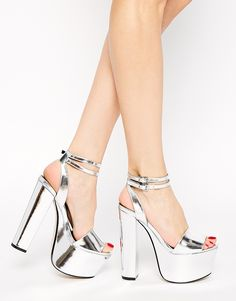 ASOS HEAD FIRST Heeled Sandals at ASOS. Homecoming Shoes, Prom Shoes, Shoes Heels, Unique Shoes, Cute Shoes, Girls Heels, Ladies Shoes, Bridal Sandals, Heeled Boots