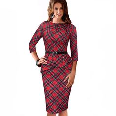 3/4 Sleeve Belted Dress. Gender: WomenWaistline: NaturalDecoration: SashesSleeve Style: RegularPattern Type: PlaidStyle: Vintage