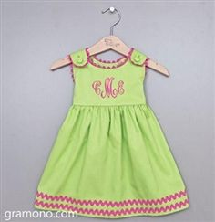 Baby Girl Lime Green and Pink Dress with Ric Rac