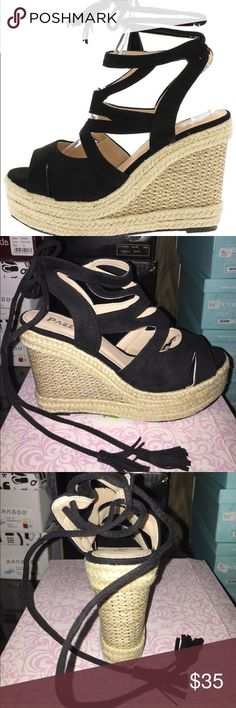 Black wedges Black wedges with ankle tie Shoes Wedges