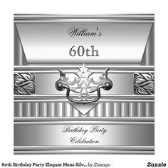 60th Birthday Party Elegant Mens Silver Metal 2 5.25x5.25 Square Paper Invitation Card