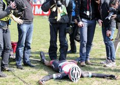 Gallery 2013: Through the lens of Roberto Bettini - Fabian Cancellara collapses exhausted after Paris-Roubaix