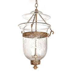 Antique Clear Glass Bell-Jar Hall Lantern | From a unique collection of antique and modern chandeliers and pendants at https://www.1stdibs.com/furniture/lighting/chandeliers-pendant-lights/