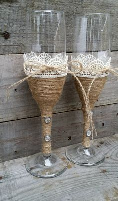 Rustic Wedding Toasting Glasses with Twine by LittleZebrasBoutique