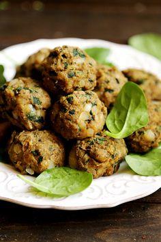 Vegan Spinach Mushrooms Sticky Balls