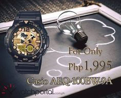 Watch Name: Casio AEQ-100BW-9A  SALE Price: ₱ 1,995  Main Features: - 10-YEAR BATTERY LIFE & WORLD - TIME 100-meter water resistance  - Round world map dial  - Telememo 30  - 1/100-second stopwatch Alarms  For orders click the link below. https://www.watchportal.com.ph/casio-watch-men-women/casio-standard-men-s-gold-dial-black-resin-strap-watch-aeq-100bw-9a.html  We offer cash on delivery NATIONWIDE! #ElectronicsStore