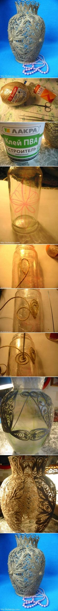 DIY Delicate Twine Cord Vase | www.FabArtDIY.com LIKE Us on Facebook ==> https://www.facebook.com/FabArtDIY