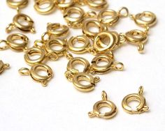 30 pcs Gold Bracelet Necklace Closure Clasps Connector, Spring Ring Clasps, 6mm A14-012 on Etsy, $3.00