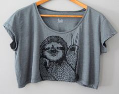 Peace Out Sloth - 5% Donated to Wildlife Conservation Network - womens tshirt Crop top - Sloth cropped tshirt funny - by Simka Sol
