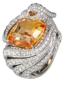 high jewellery cartier ring bird diamond garnet mandarin