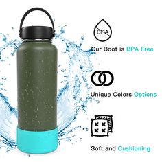 (This is an affiliate pin) Beasom Protective Silicone Flex Boot Fit 32-64oz for Hydro Flask #DogFeeding Hydro Flask, Dog Feeding, Pet Bowls, Unique Colors, Water Bottle, Boots, Fit, Modern, Crotch Boots