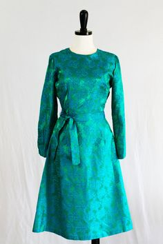 Vintage Green and Blue Brocade Dress Long by SweetFlossieMae