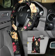Steering wheel cover and seat belt covers -Set of 3 pieces - Black floral wheel…