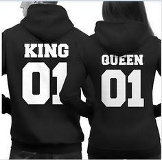 Couple Matching Hoodies King 01 and Queen 01 Back Print Cute Hooded Sweatshirts…