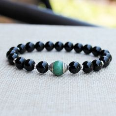 Green Jade Black Tourmaline Yoga Mala Bracelet, Meditation Bracelet, Boho Chic, Earthy Bracelet, Nepal Bracelet, Wrist Mala, Healing Beads