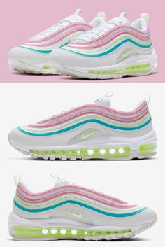 Various Nike silhouettes have recently emerged in official Easter-ready ensembles. Among them, the Air Max 97, like the Air Force 1, boasts iridescent accents and cracked-egg graphics that have become standard for the Spring holiday. The Air Max model, however, has also added an unofficial outfit perfect for the April 12th celebration.#nikeairmax97 Air Max 97, Nike Air Max, Women Easter Outfits, Cracked Egg, Air Force 1, New Trends, Silhouettes, Iridescent, Celebration