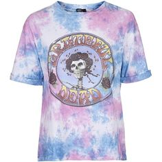 Grateful Dead Tiedye Tee by and Finally ($37) ❤ liked on Polyvore featuring tops, t-shirts, pink, loose fitting tops, loose t shirt, tiedye t shirts, loose tops and tie-dye tops